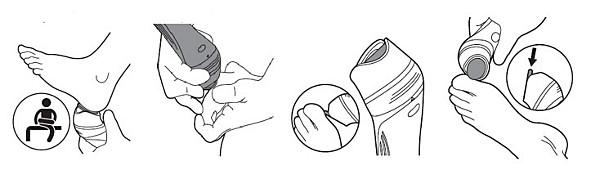 Philips Satinelle elektriskās pēdu vīles lietošana