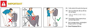 Extending the poles of Philips Garment Steamer
