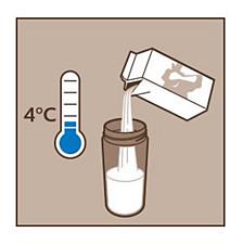 Utilice leche fría refrigerada para Philips LatteGo