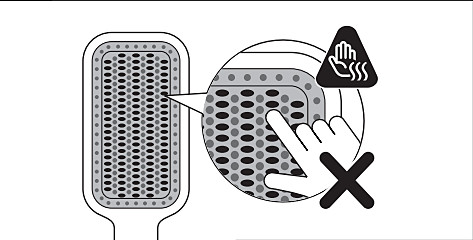 Las cerdas del cepillo alisador con calor Philips pueden estar muy calientes