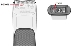 Modelo e número de série do aparador Philips