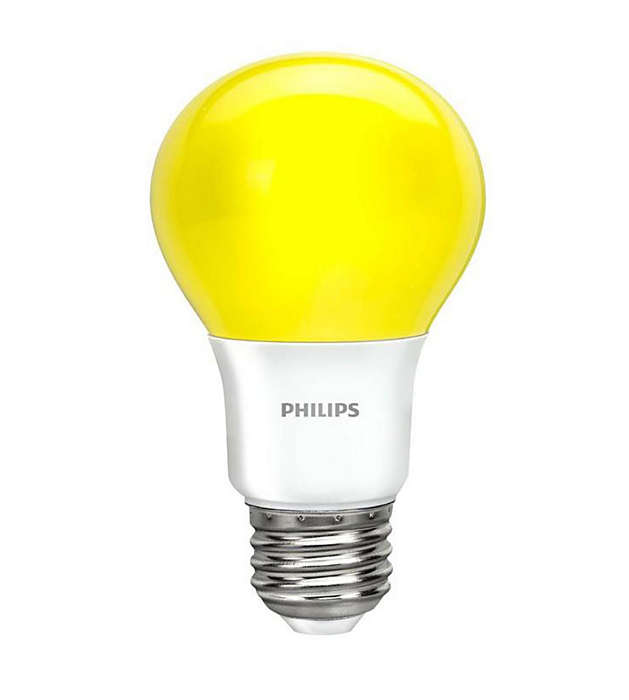 Colored LED bulb with bright yellow light