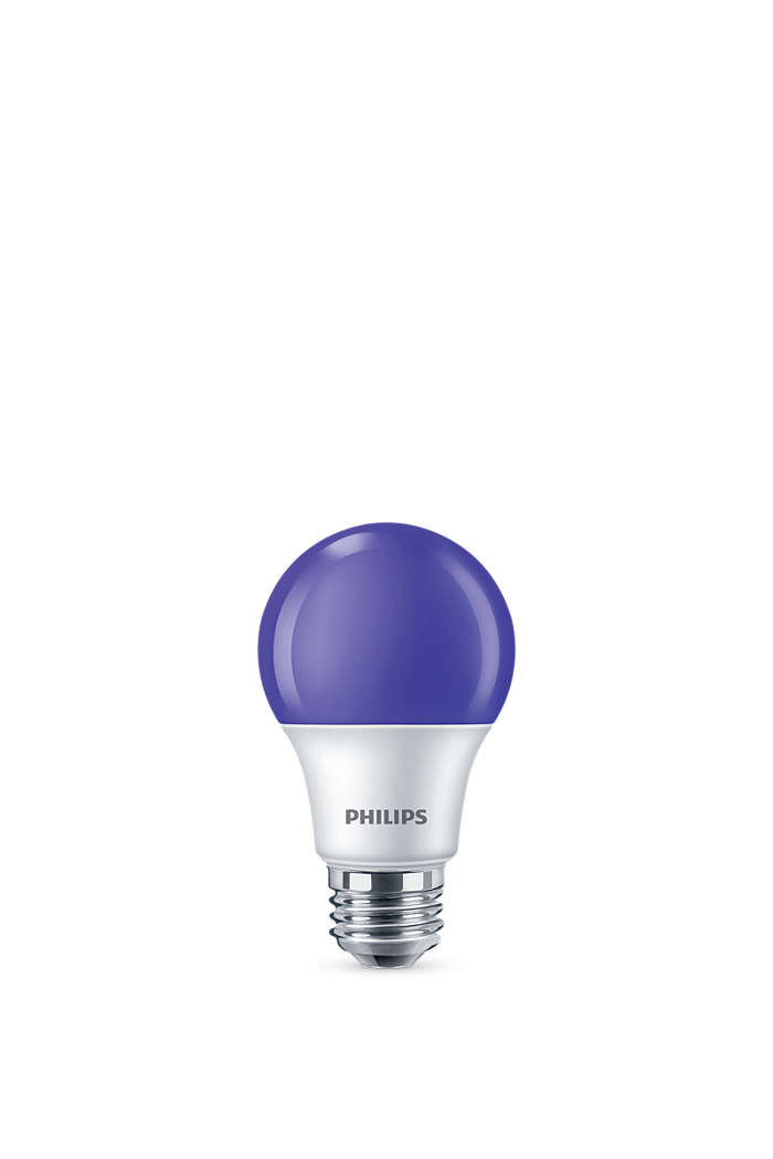 Colored LED bulb with bright purple light