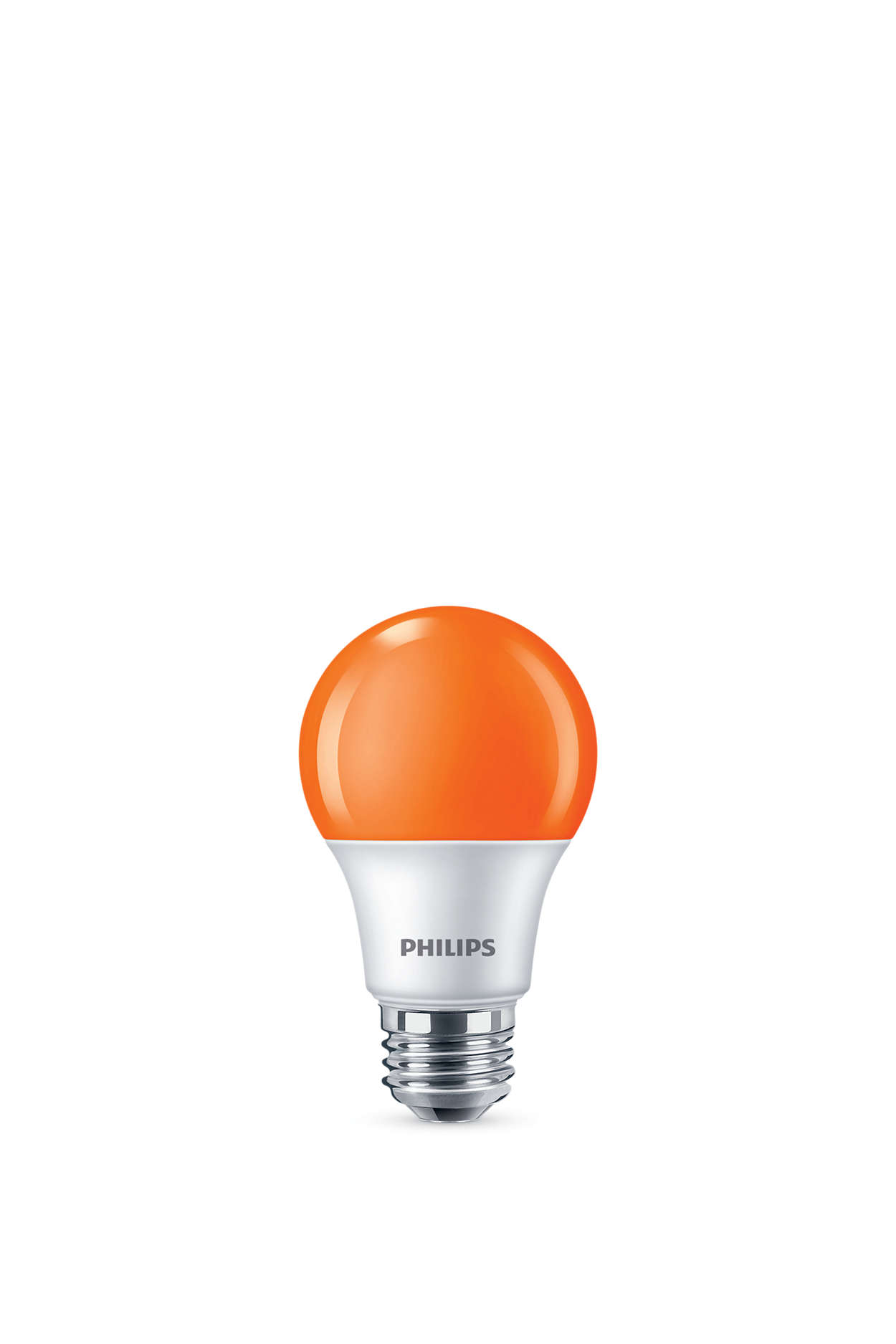 Colored LED bulb with bright orange light.