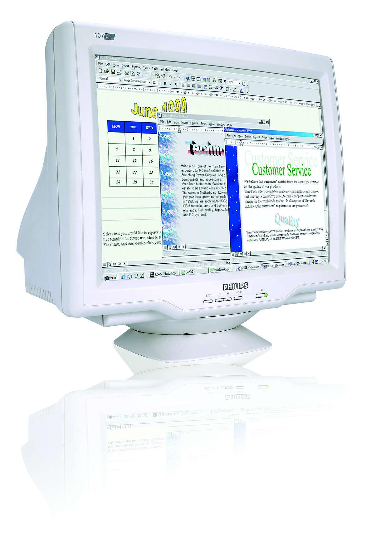 digitalisert CRT, ideell skjermstørrelse og verdi
