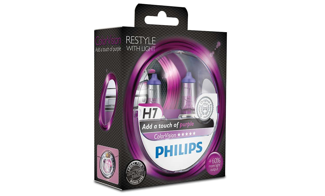 PHILIPS H7 Colour Vision Purple//Pink Halogen Lamps 60/% More Light 12V 55W