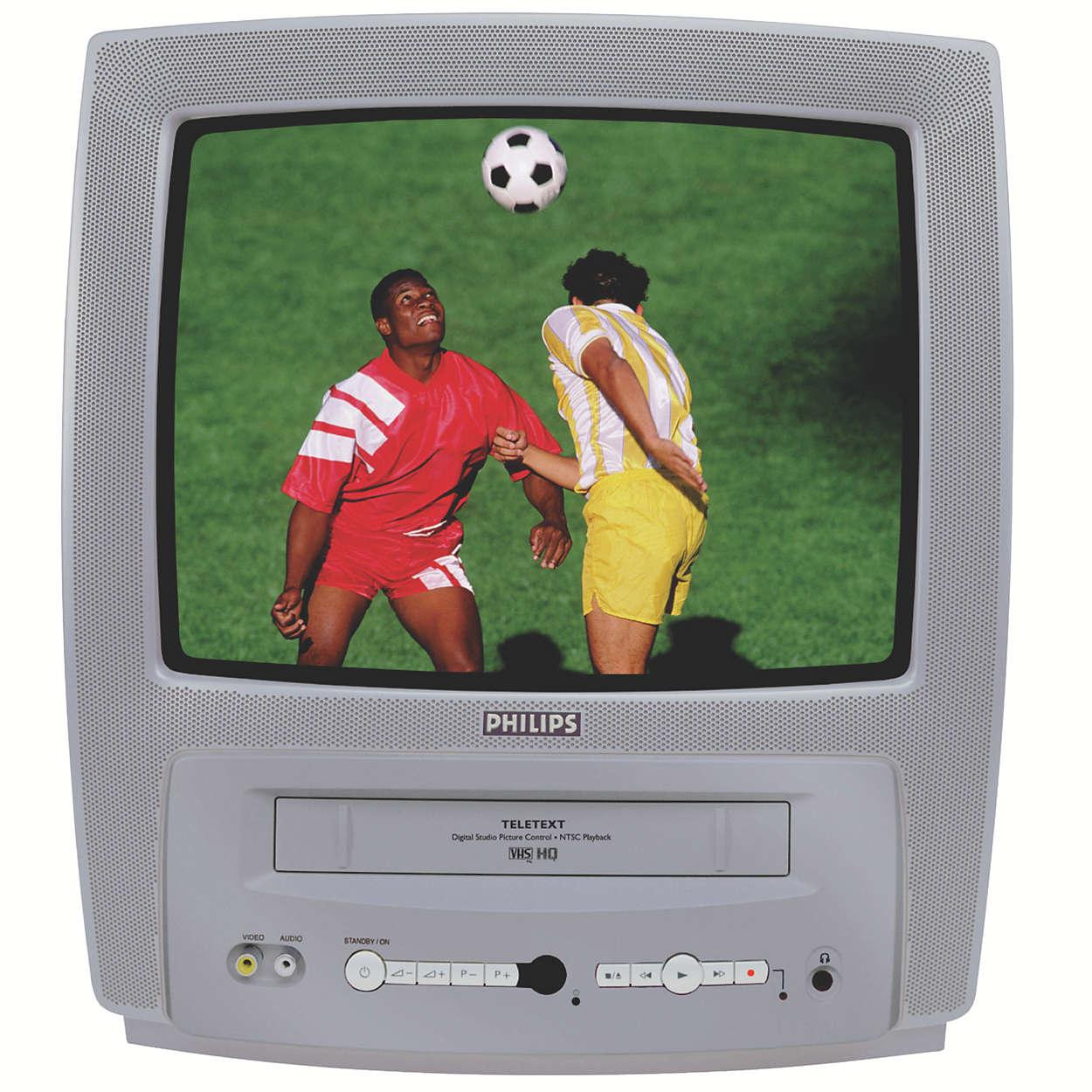 Kompakti TV/Video Combi, jossa teksti-tv