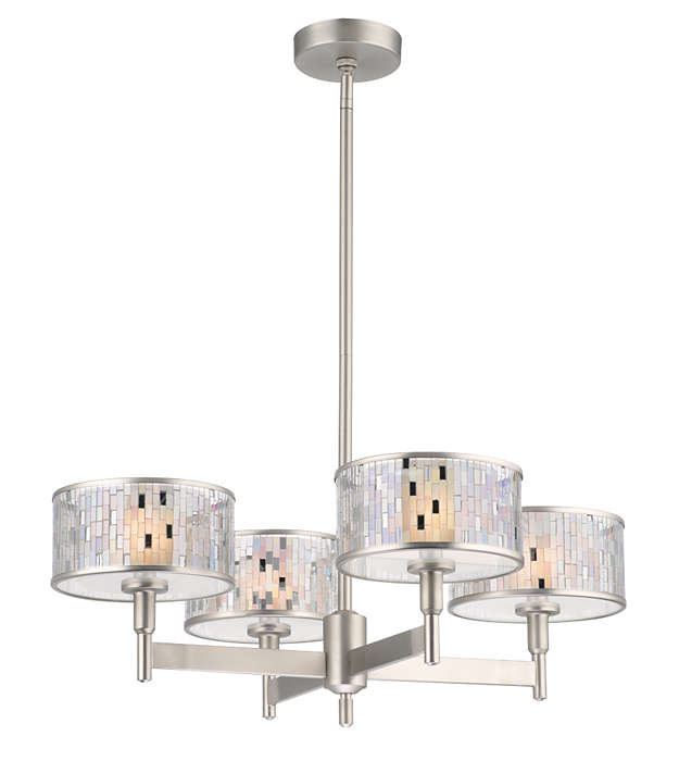 Mosaico 4-light Chandelier in Satin Nickel finish