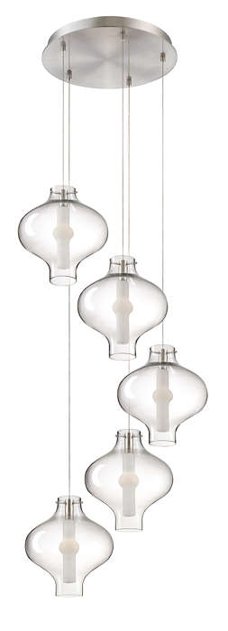 Abacus 5-light Pendant in Satin Nickel finish