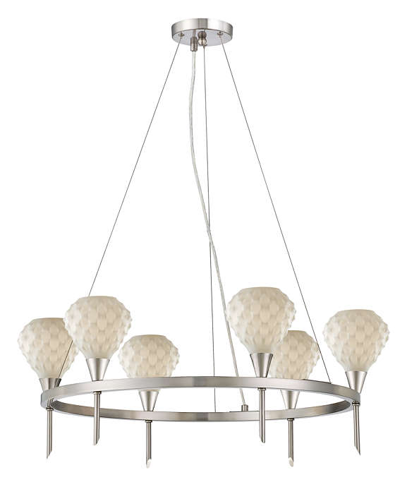 Ripple 6-light Chandelier in Satin Nickel finish
