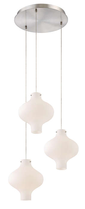 Abacus 3-light Pendant in Satin Nickel finish