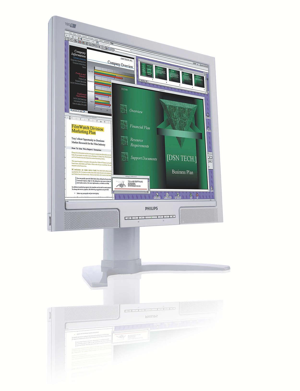 Groot, handig beeldscherm voor het verhogen van de productiviteit