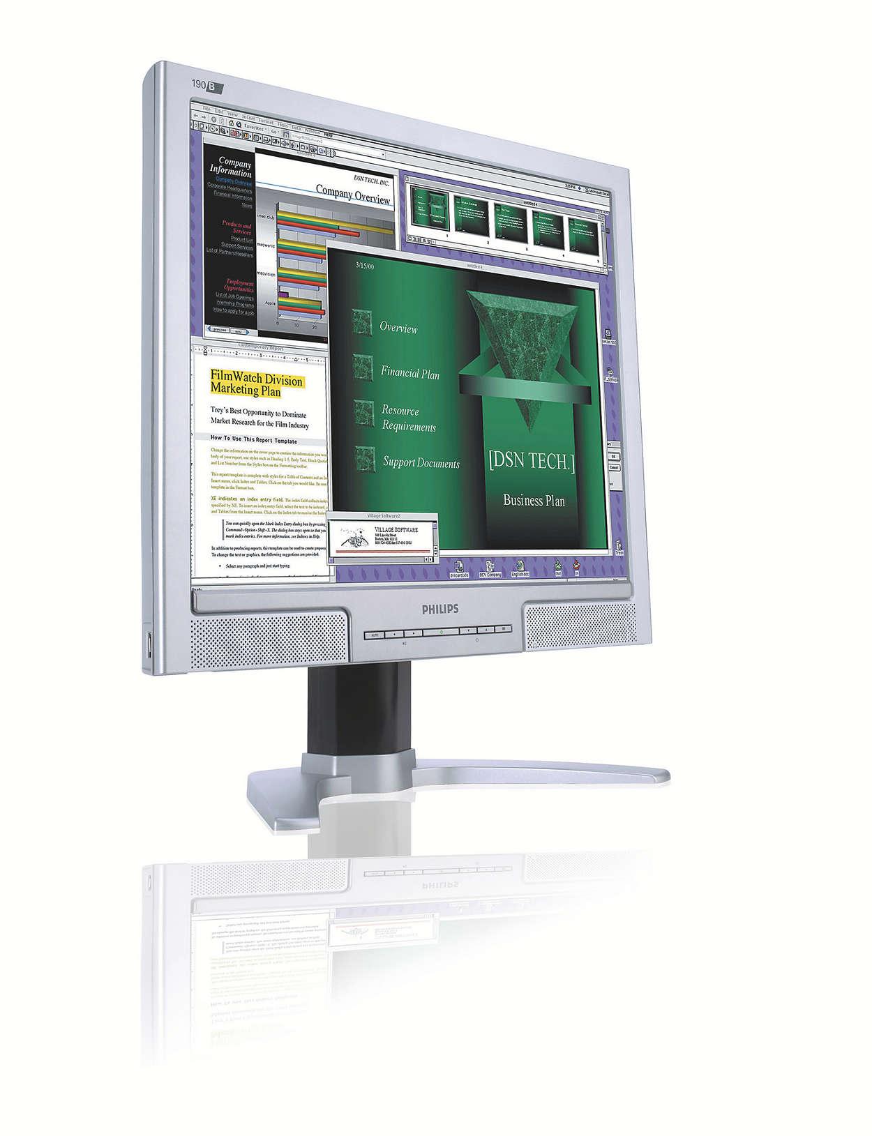 Óriási, kényelmesen olvasható képernyő a hatékonyság emeléséhez