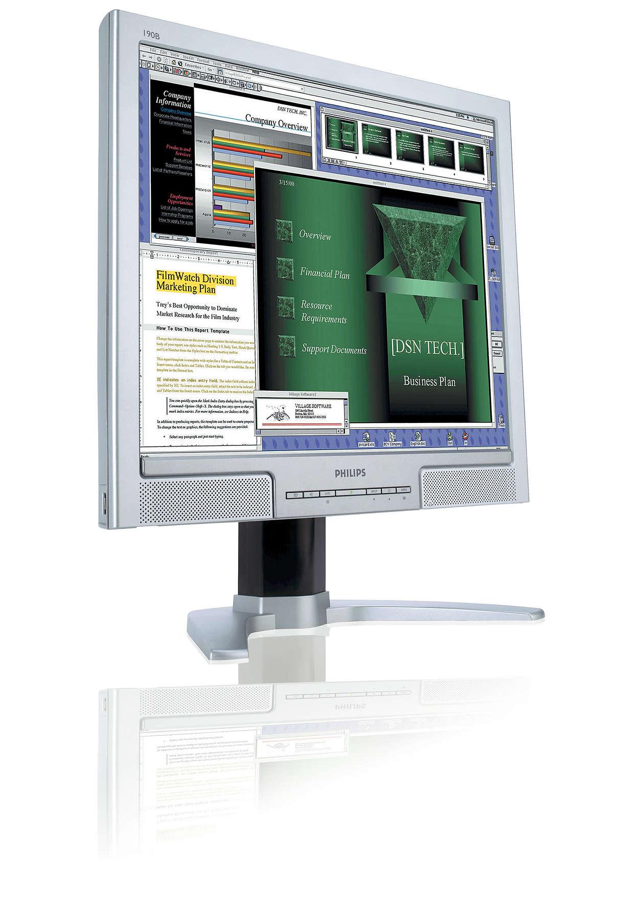 Produktivitetshöjande skärm, fantastisk bekvämlighet