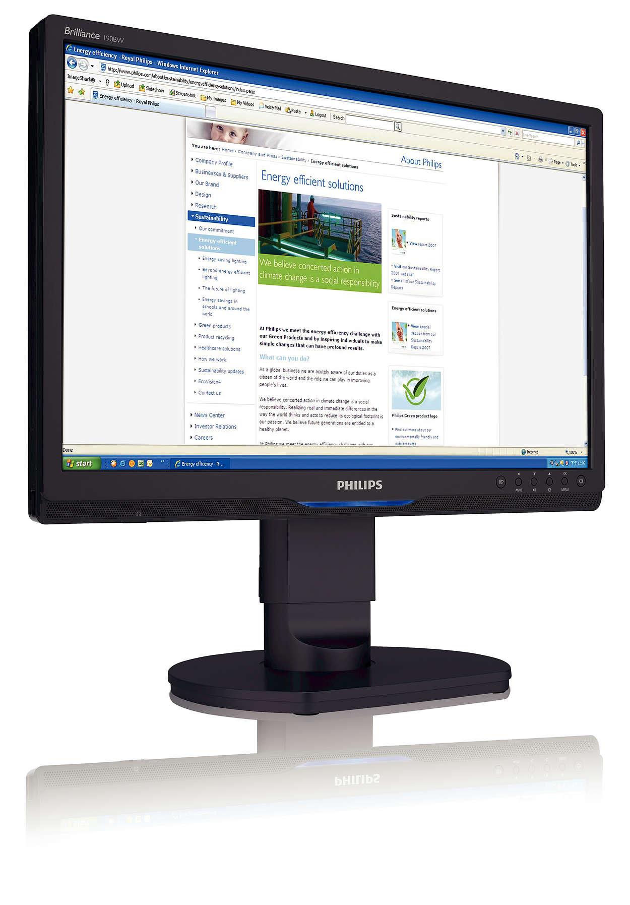 Ergonomisk widescreen-skjerm med høy oppløsning for kontorer