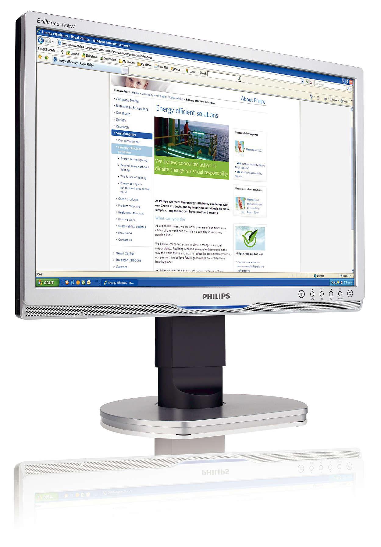 Layar lebar resolusi tinggi yang ergonomis untuk bisnis