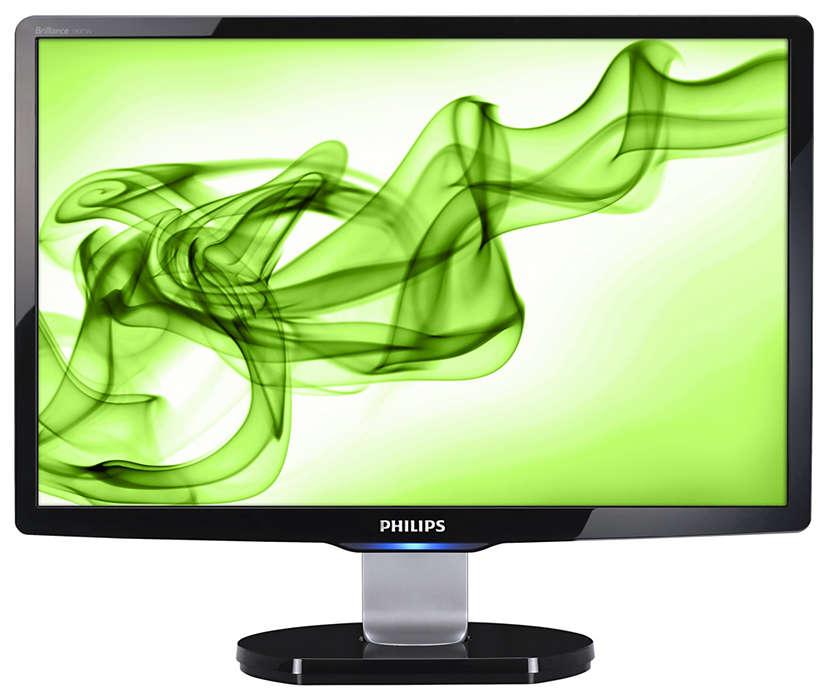 Elegante pantalla panorámica para el ocio informático en casa