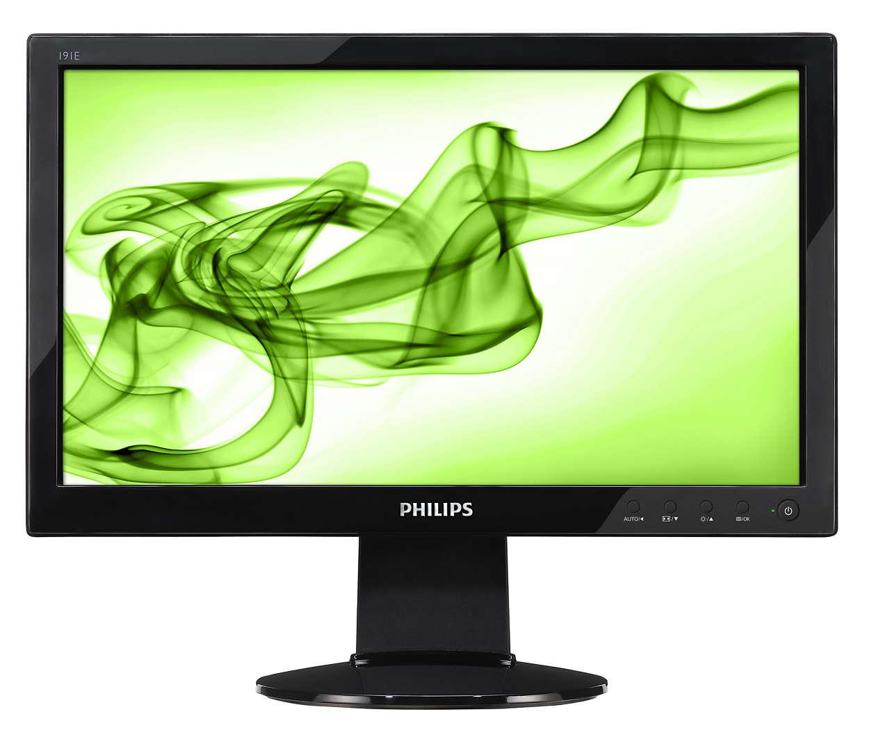 Monitor HD cu raport original de 16:9 şi design lucios