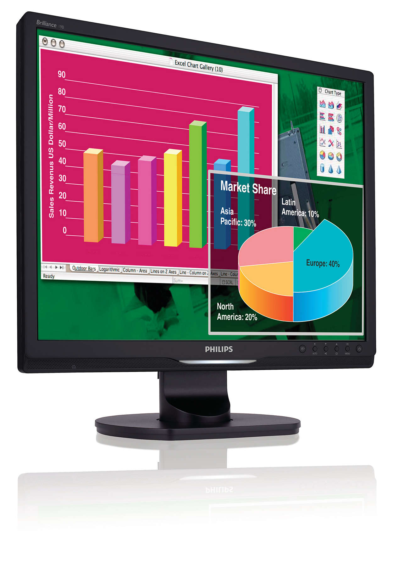 Feature-packed display for increased productivity