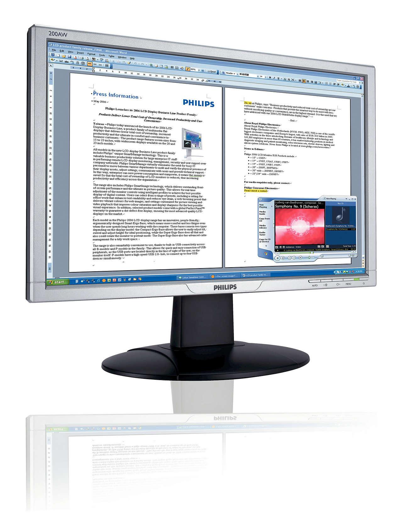Cómodo audio integrado y pantalla panorámica para Windows Vista