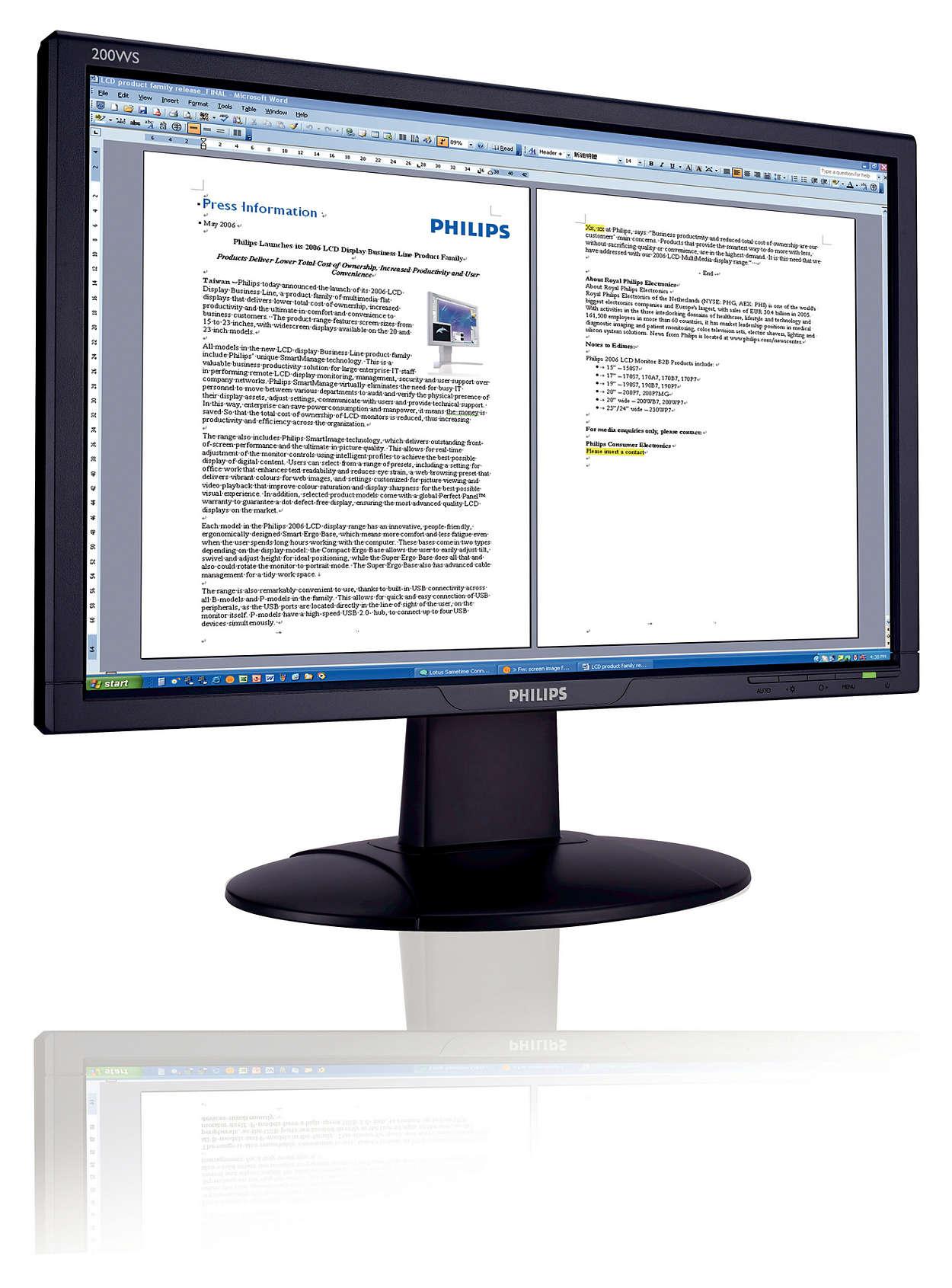 Monitor panorámico preparado para Vista: mayor productividad