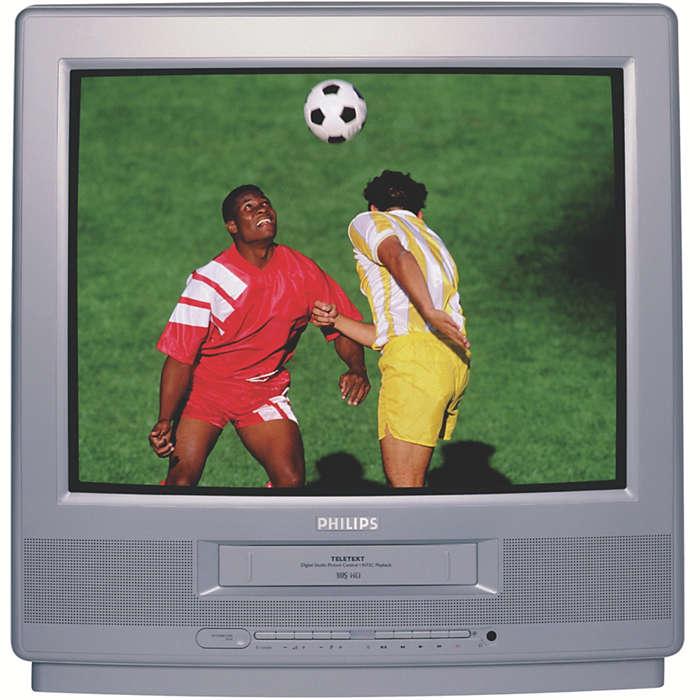TV-videocombi met groot scherm en teletekst