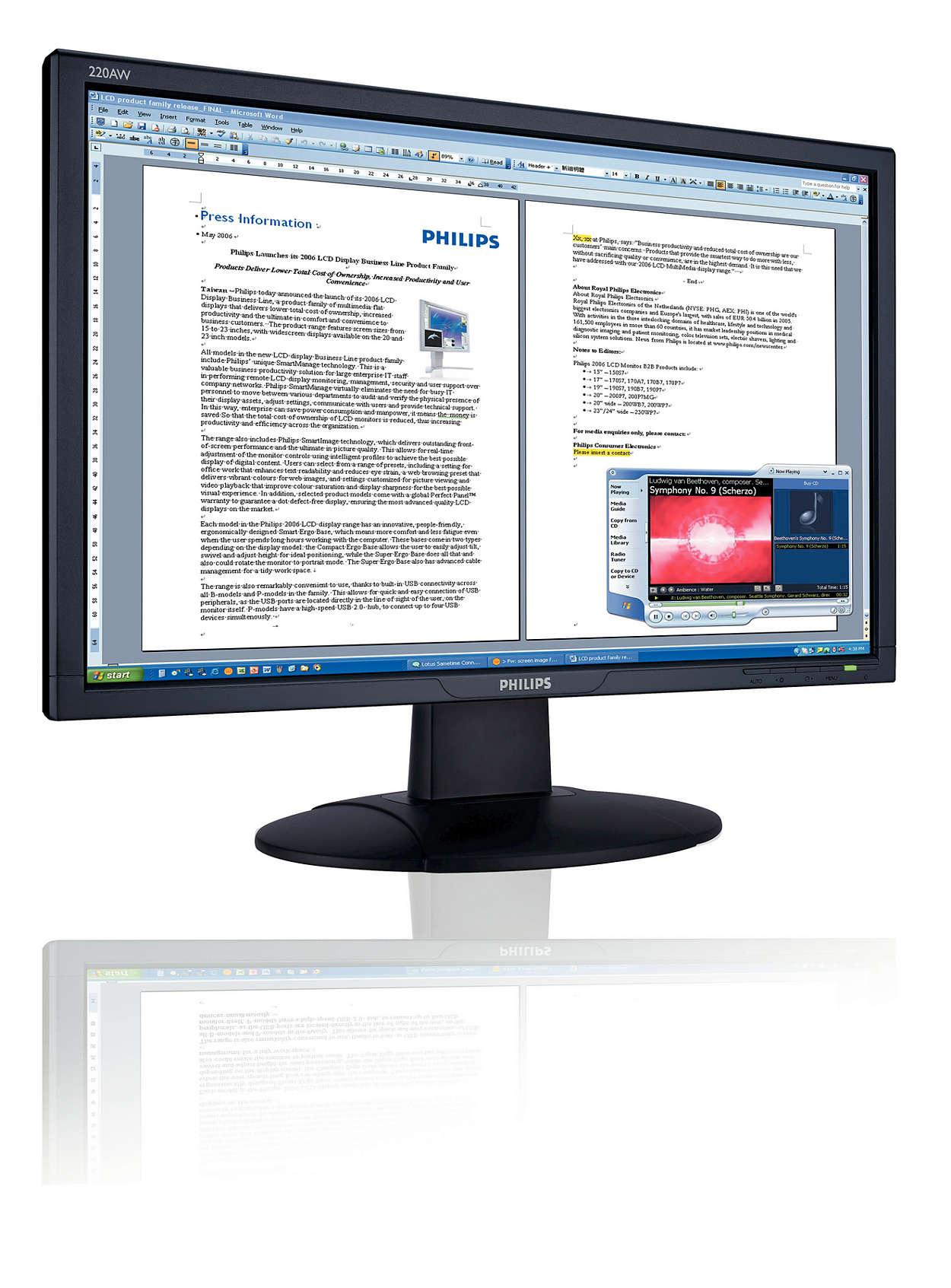 Praktické, zabudované audio, širokoúhlá obrazovka Vista-ready