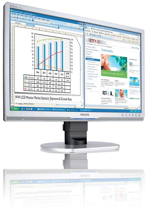 Den ergonomiske skjermen for kontorer gir høyere produktivitet