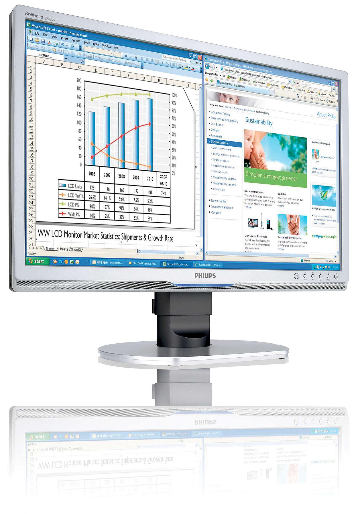 Эргономичный монитор бизнес-класса для повышения продуктивности