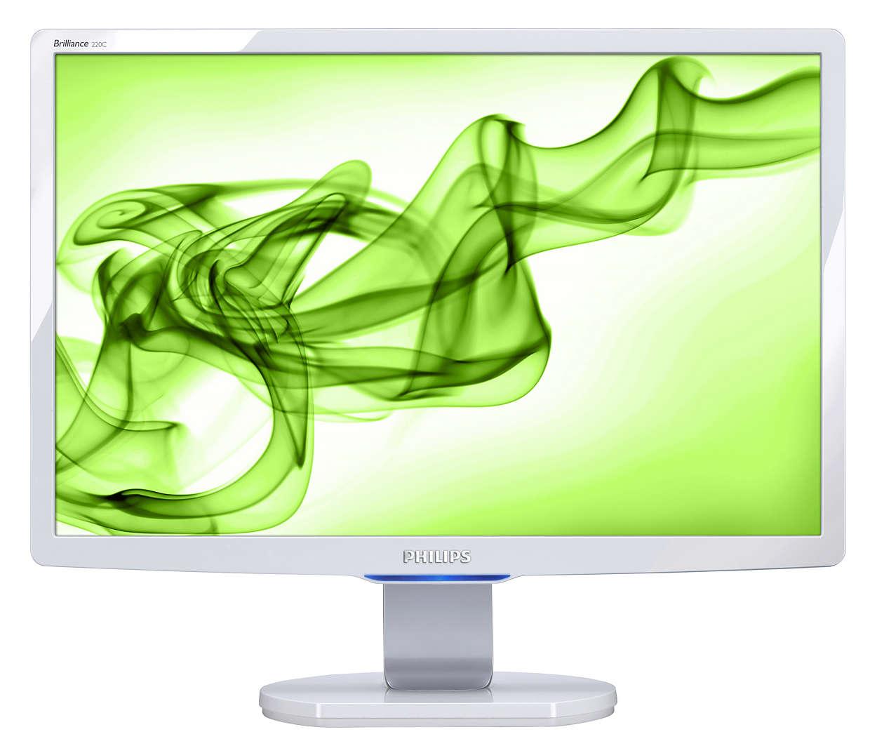 Stilig skjerm med mange funksjoner for dataunderholdning