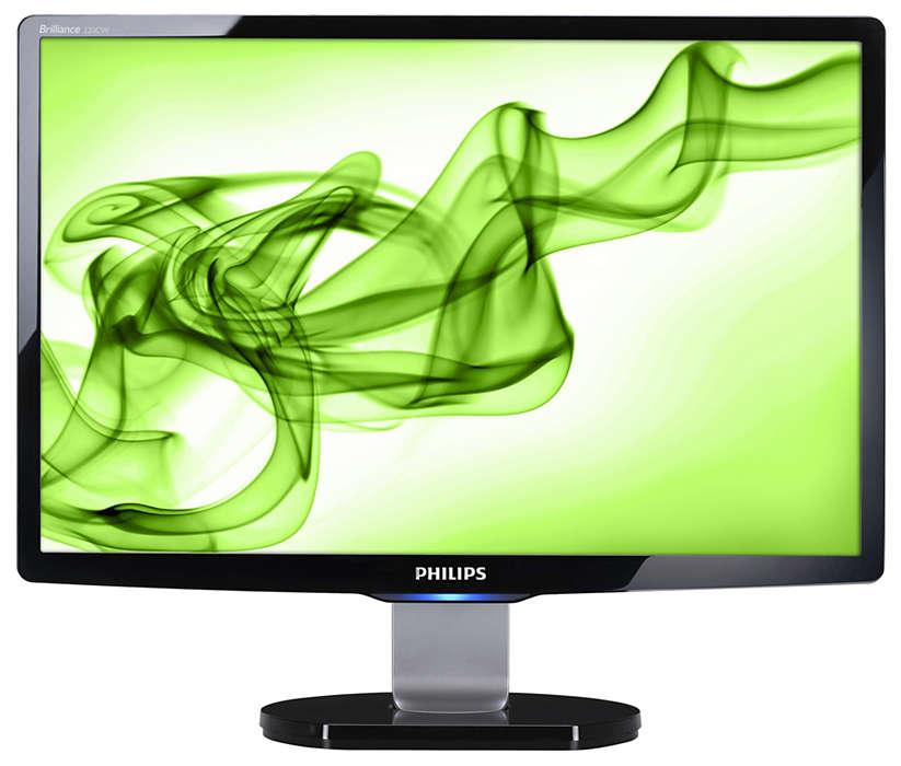 Gran pantalla panorámica elegante para ocio informático en casa