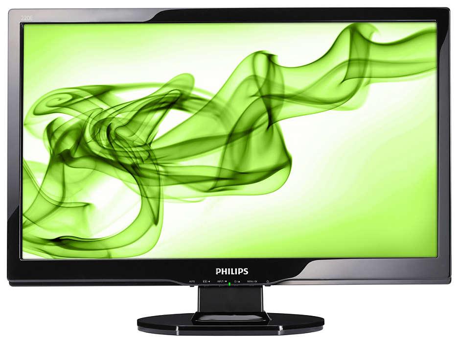 จอแสดงผล Full HD ขนาด 16:9 พร้อมดีไซน์ผิวเคลือบมันที่สวยงาม