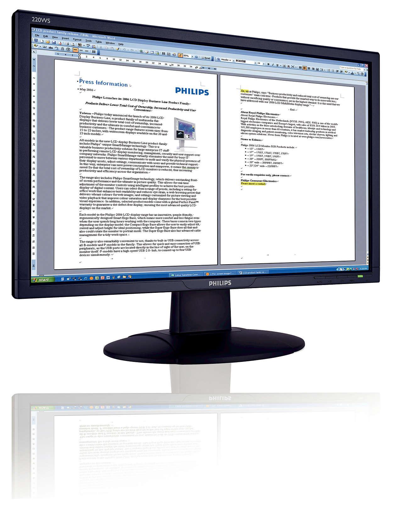 Vistára felkészített széles képernyő a produktív üzletért