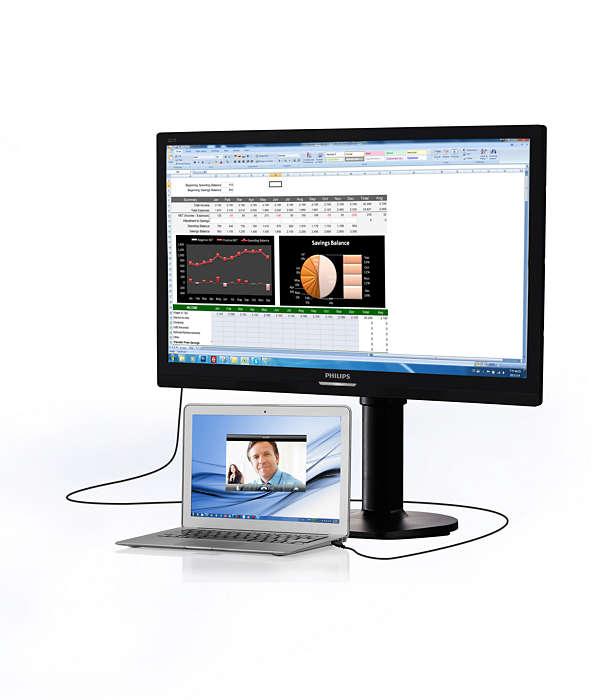 Simplicité de l'écran avec connecteur pour ordinateur portable