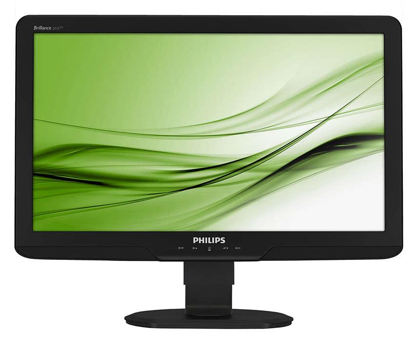 Stor, ergonomisk skjerm forbedrer produktiviteten