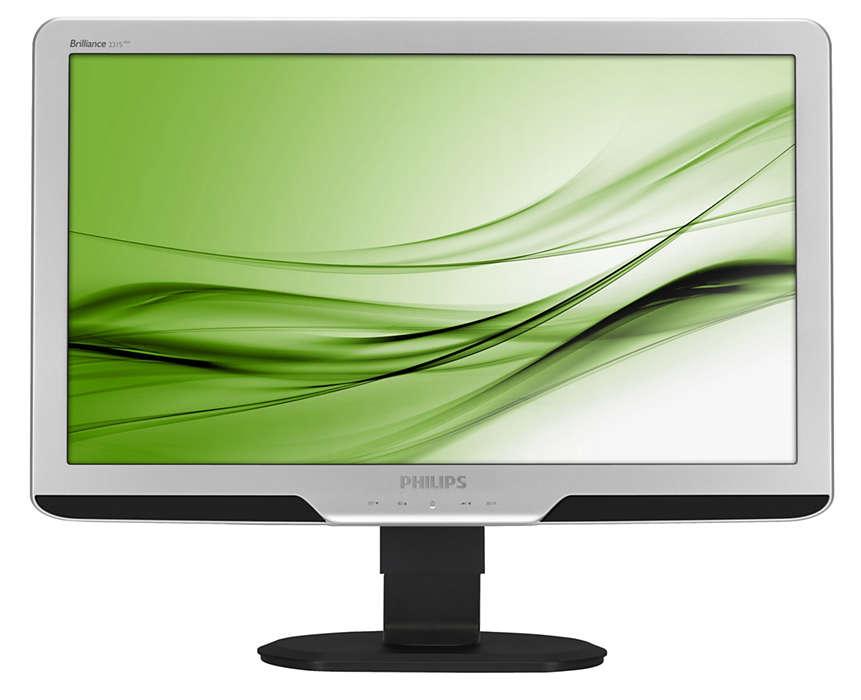 Ecrã ergonómico grande aumenta a produtividade