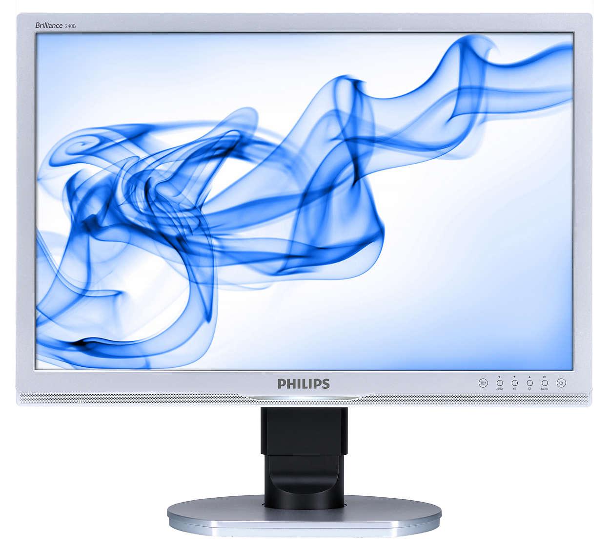 Stor ergonomisk skærm til arbejdsbrug øger produktiviteten