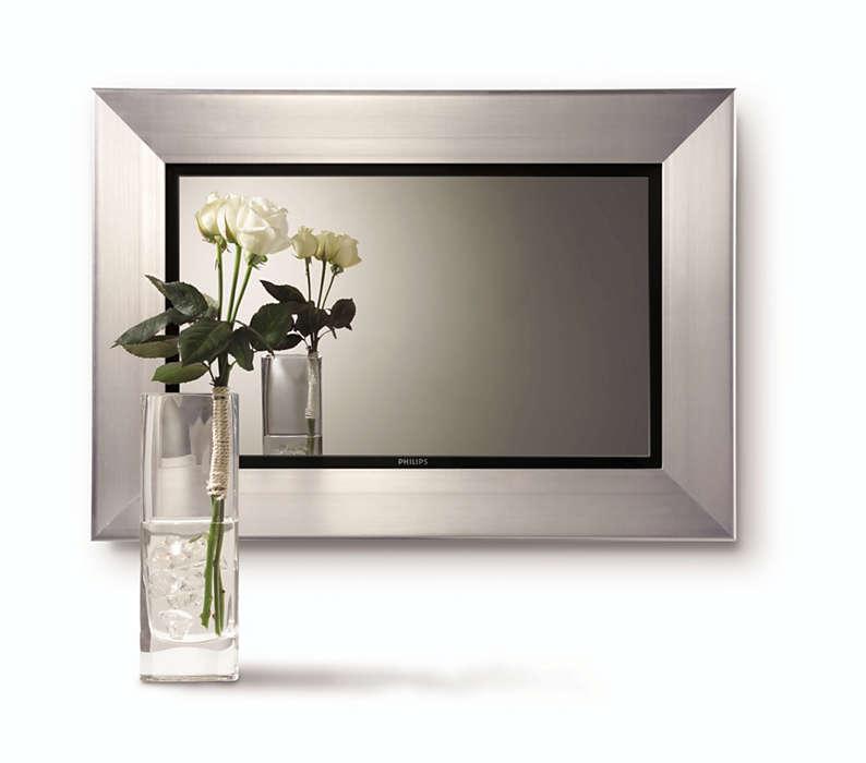 Zrcadlový televizor smultimediálním zobrazením