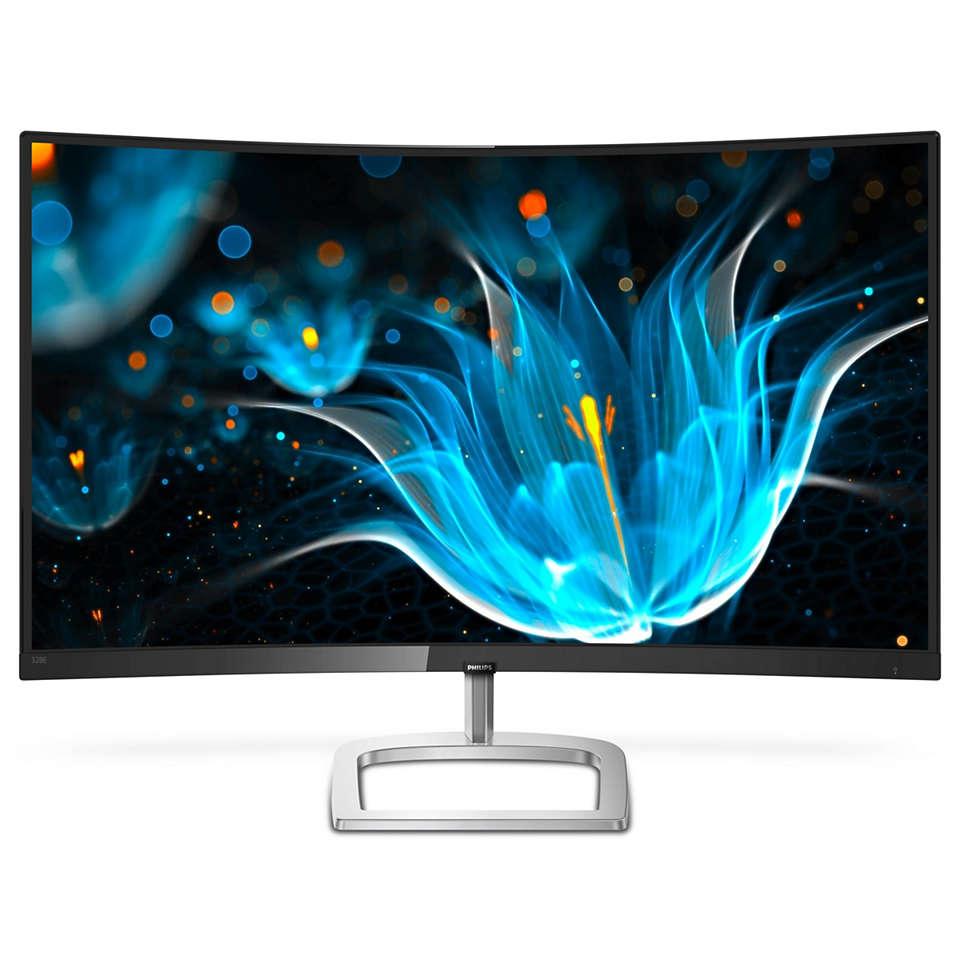 Geschwungener LCD-Monitor mit Ultra Wide Color