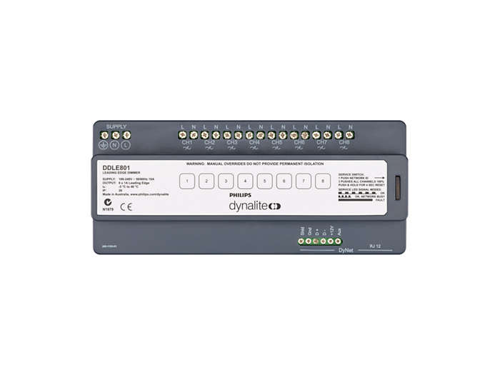 Front of the DDLE801 8 x 1A Leading Edge Dimmer Controller