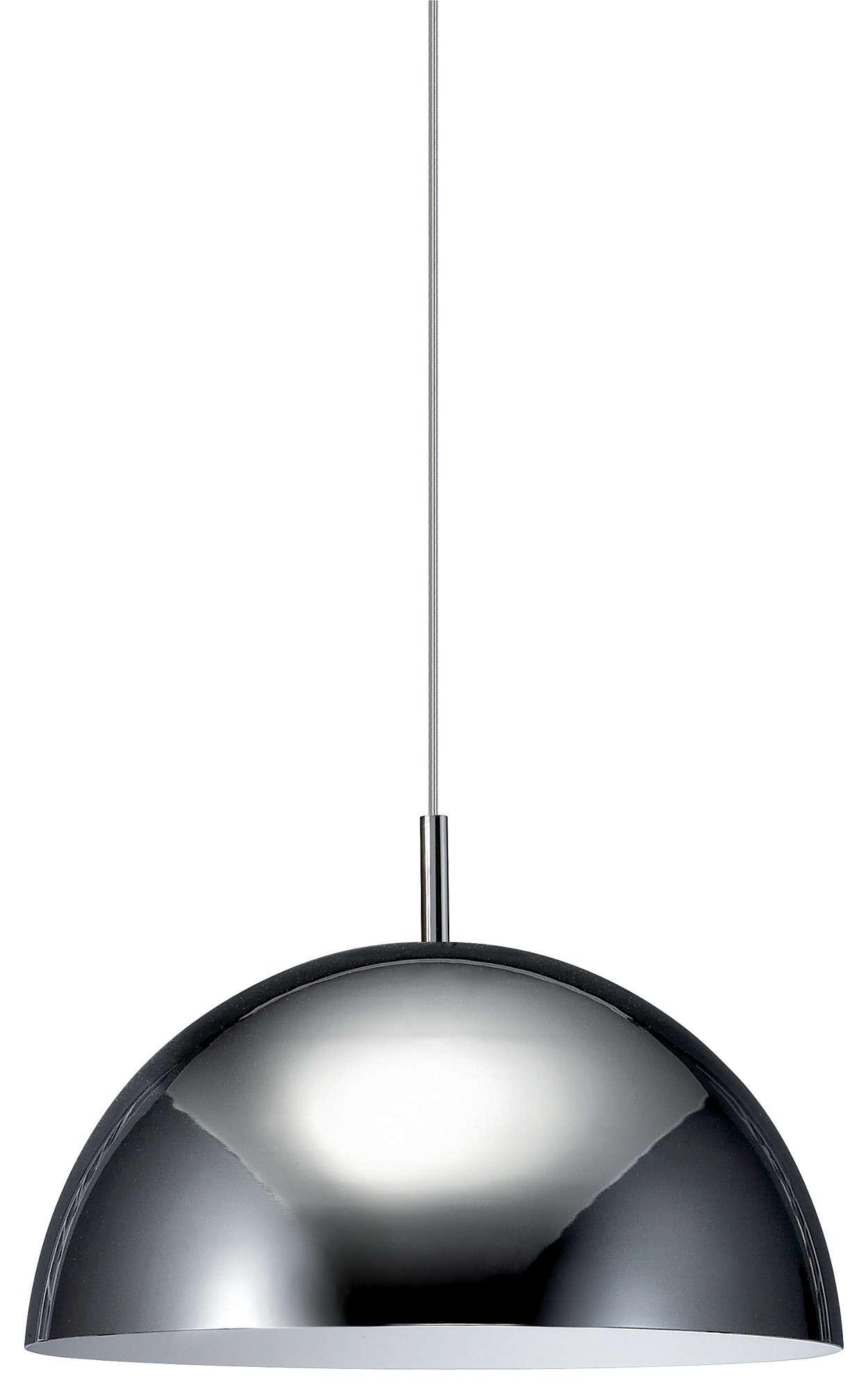 Suspensión de cúpula de una luz con acabado cromado