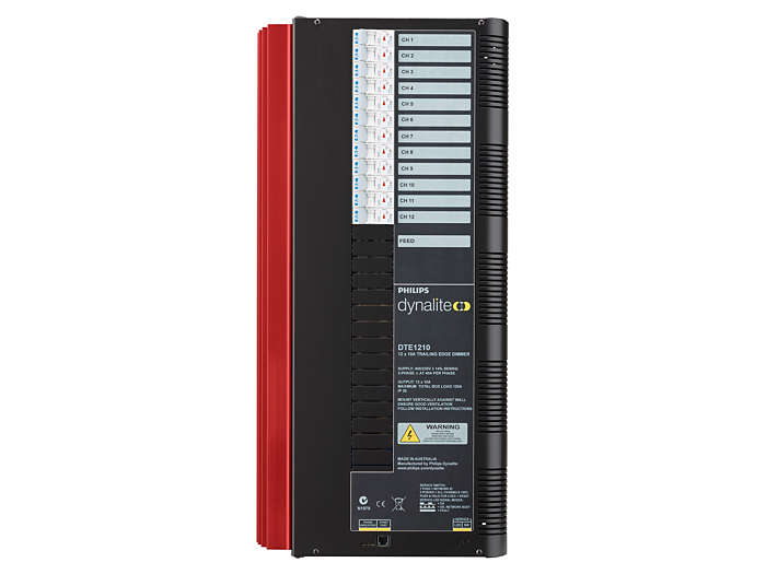 Front of the DTE1210 12 x 10A Trailing Edge Dimmer Controller