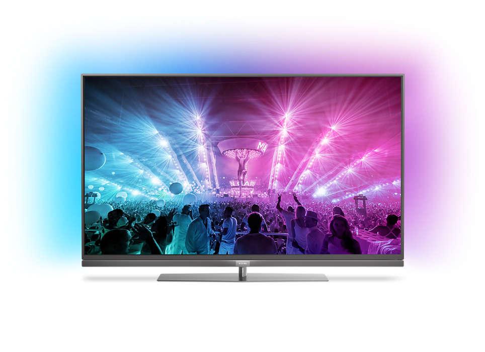 4K UHD ултратънък LED телевизор, работещ с Android