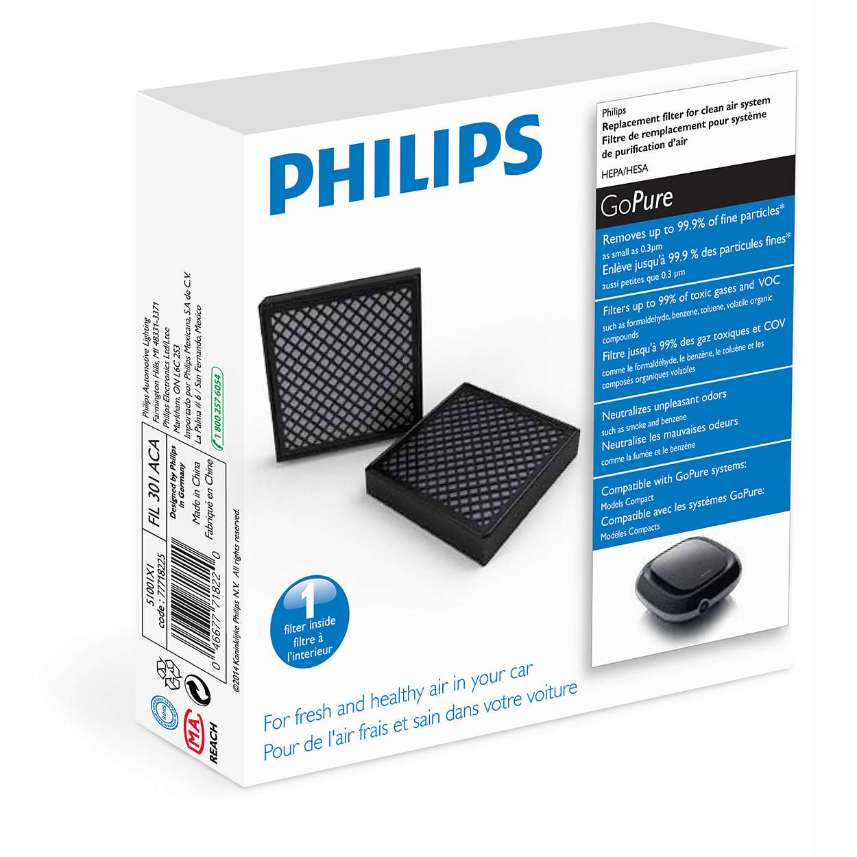 GoPure Replacement filter for clean air system 51001X1 | Philips