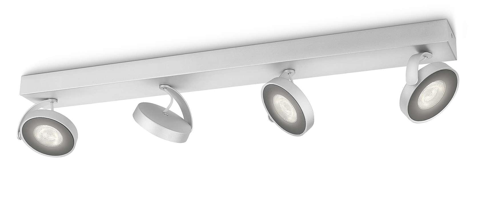 Dimmable Led Clockwork Quadruple Spot Light 531744816 Philips