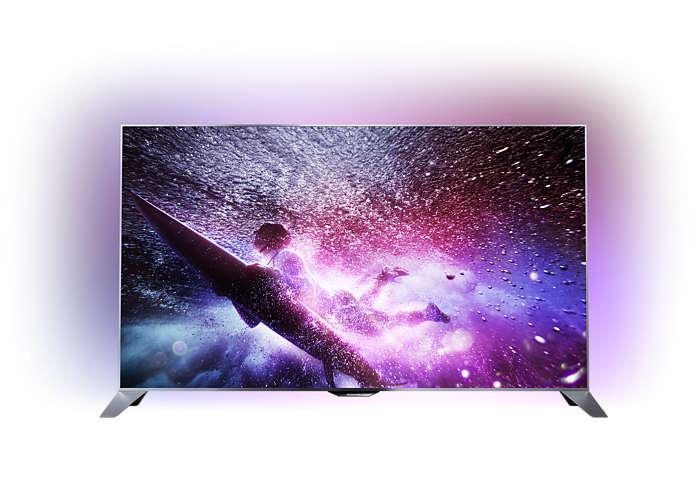 Rakbladstunn FHD-TV som drivs med Android