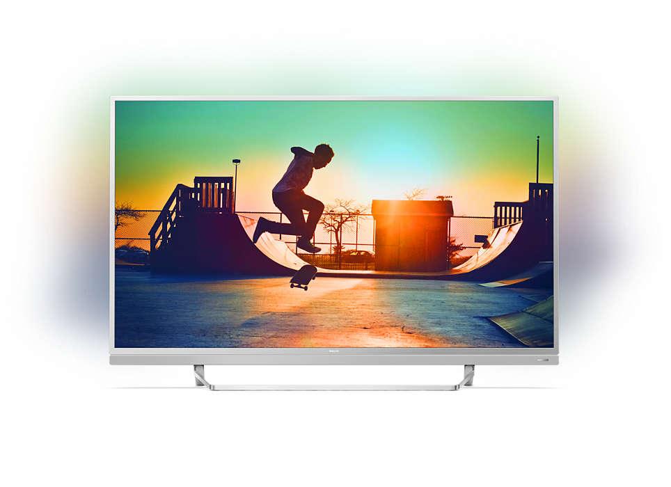 Televisor LED 4K ultra fino com Android TV