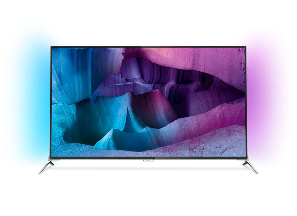 Ultra tenký LED televízor srozlíšením 4K UHD sosystémom Android