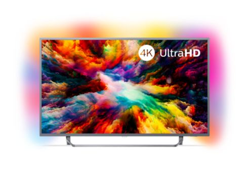Ultraflacher 4k Uhd Led Android Fernseher 55pus730312 Philips