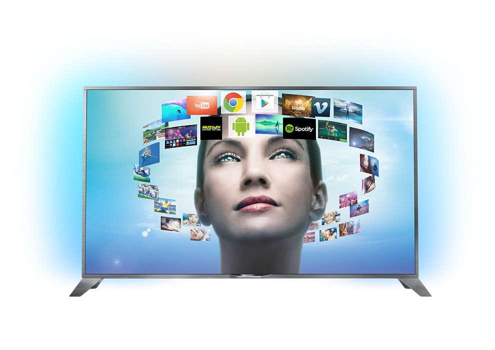 Ултратънък 4K UHD телевизор, работещ с Android